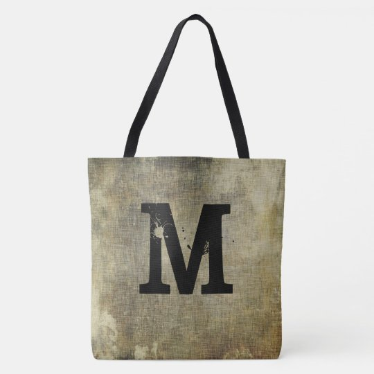 Grunge Monogram, You Customize, Tote Bag