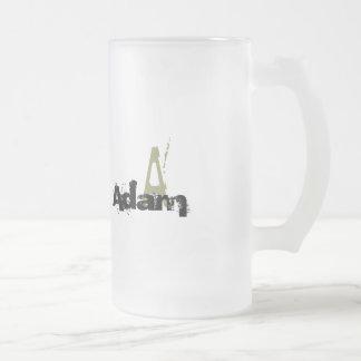 Grunge Monogrammed Frosted Glass Beer Mug