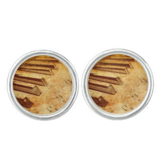 Grunge Music Sheet Piano Keys Cufflinks