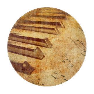 Grunge Music Sheet Piano Keys Cutting Board