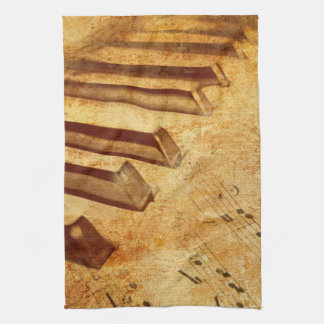 Grunge Music Sheet Piano Keys Kitchen Towel