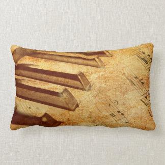 Grunge Music Sheet Piano Keys Lumbar Pillow