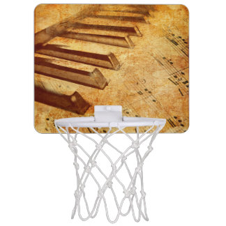 Grunge Music Sheet Piano Keys Mini Basketball Hoop