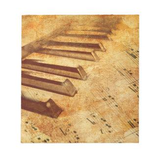 Grunge Music Sheet Piano Keys Notepads