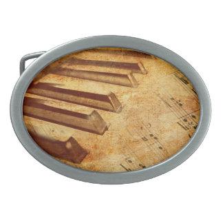 Grunge Music Sheet Piano Keys Oval Belt Buckles