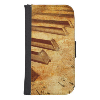 Grunge Music Sheet Piano Keys Samsung S4 Wallet Case