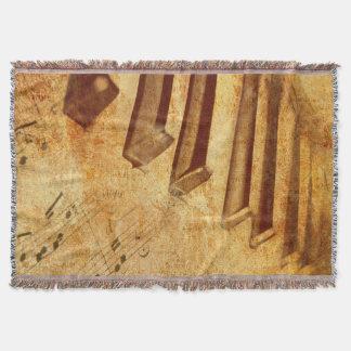 Grunge Music Sheet Piano Keys Throw Blanket