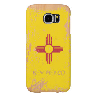 Grunge New Mexico Flag on Wood Samsung Galaxy S6 Cases