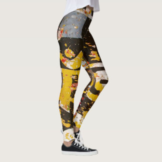 Grunge Old Sign Leggings Brown White
