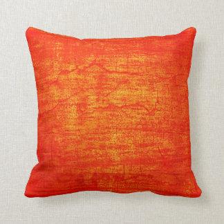 Grunge Orange Paint abstract art Throw Pillow