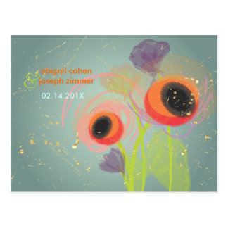 Grunge Orange poppies, Invitations postcards