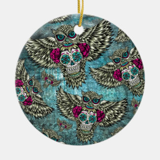 Grunge Owls with sugar skulls Round Ceramic Ornament