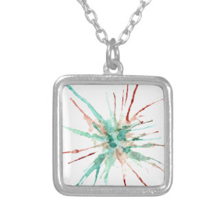 Grunge Paint Splatters green Silver Plated Necklace