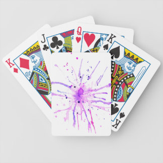 Grunge Paint Splatters purple Bicycle Playing Cards