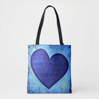 Grunge Paisley Blue Heart Tote Bag