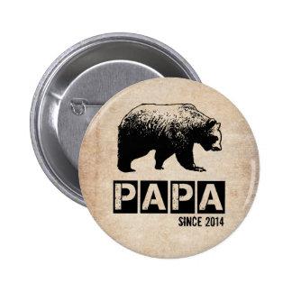 Grunge Papa Bear Since 2014, Black 2 Inch Round Button