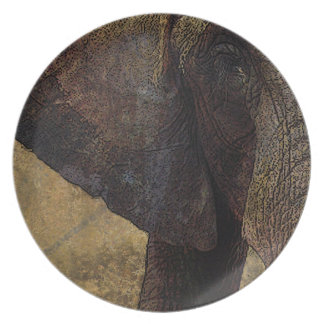 Grunge, Parchment Majestic African Elephant Plate