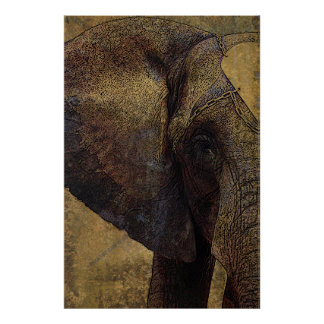 Grunge Parchment Majestic African Elephant Poster