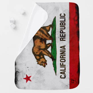 Grunge Patriotic California State Flag Baby Blanket
