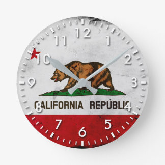 Grunge Patriotic California State Flag Round Clock