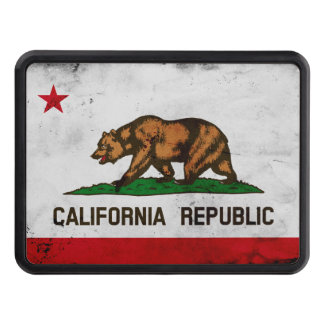 Grunge Patriotic California State Flag Trailer Hitch Cover