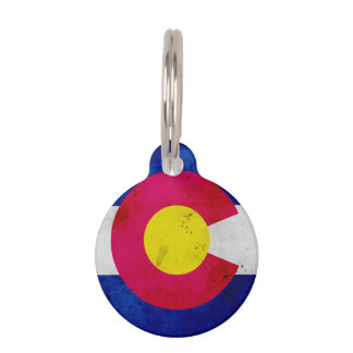 Grunge Patriotic Colorado State Flag Pet Tag