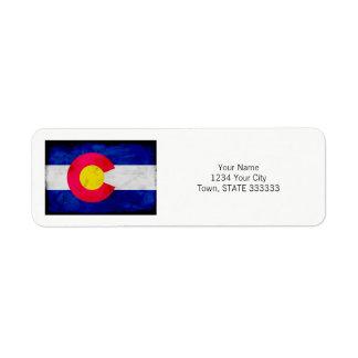 Grunge Patriotic Colorado State Flag Return Address Label