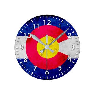 Grunge Patriotic Colorado State Flag Round Clock