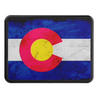 Grunge Patriotic Colorado State Flag Trailer Hitch Cover