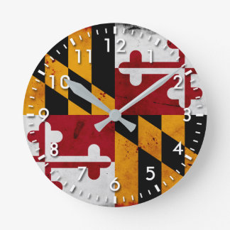 Grunge Patriotic Maryland State Flag Round Clock