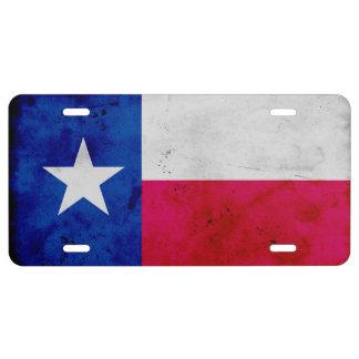 Grunge Patriotic Texas State Flag License Plate