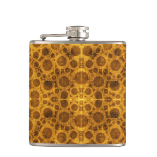 Grunge Pattern Steampunk Gold and Brown Flask