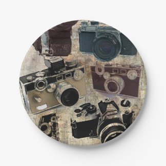 Grunge photographer photography Vintage Camera Paper Plate