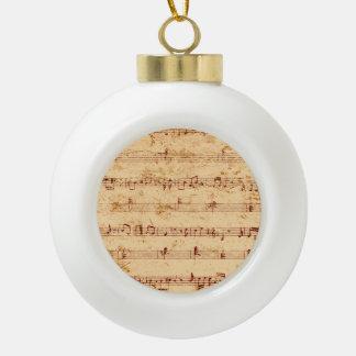 Grunge piano notes music sheet ceramic ball ornament