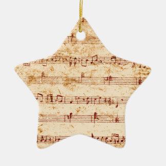 Grunge piano notes music sheet ceramic star ornament