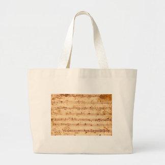 Grunge piano notes music sheet large tote bag