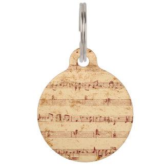 Grunge piano notes music sheet pet nametag