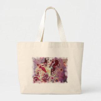 Grunge pink bikini girl on floral background large tote bag