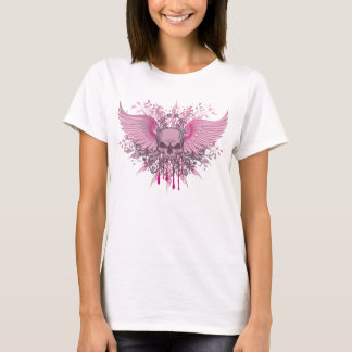 GRUNGE PINK WINGED SKULL T-Shirt