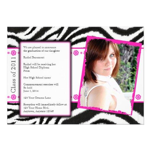 Grunge Pink Zebra Graduation Announcement