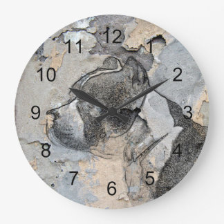 Grunge Pitbull terrier Large Clock