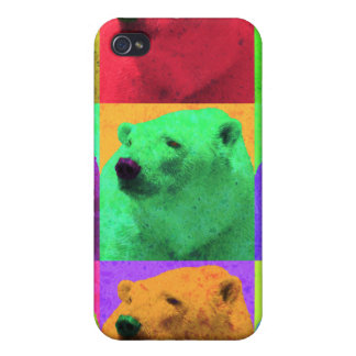 Grunge Pop Art Popart Polar Bear Closeup Colorful Cover For iPhone 4