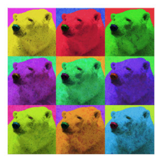 Grunge Pop Art Popart Polar Bear Closeup Colorful Print