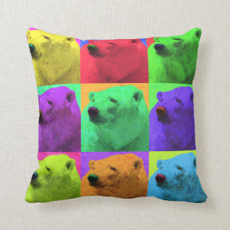 Grunge Pop Art Popart Polar Bear Closeup Colorful Throw Pillow