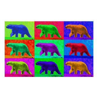 Grunge Pop Art Popart Polar Bear Multi-Panel Poster