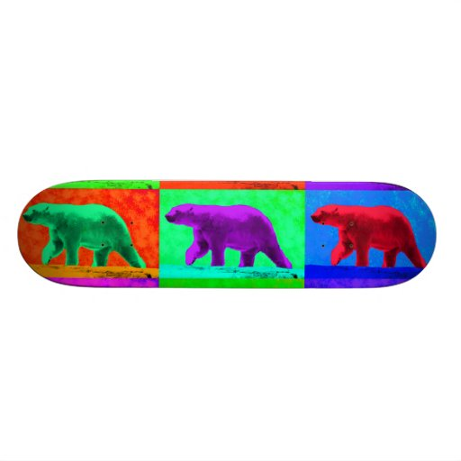 Grunge Pop Art Popart Polar Bear Multi-Panel Skate Board Deck
