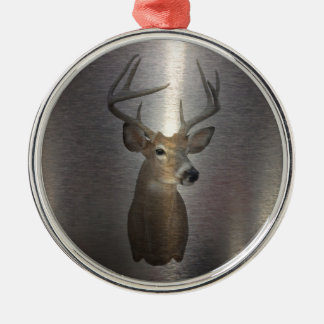 Grunge Primitive buck white tail deer Metal Ornament