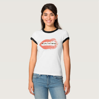 Grunge Punk Lips with Piercing T-Shirt - Red