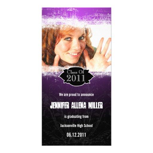 Grunge Purple Black Graduation Photo Card