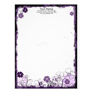 grunge purple flowers Letterhead